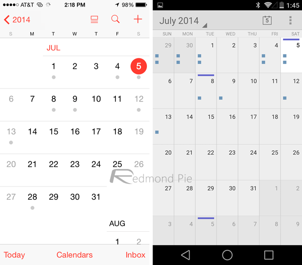 Calendar1 - iOS 8 và Android L: So sánh giao diện và tính năng qua hình ảnh