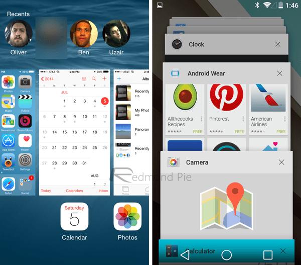 Multitasking1 - iOS 8 và Android L: So sánh giao diện và tính năng qua hình ảnh