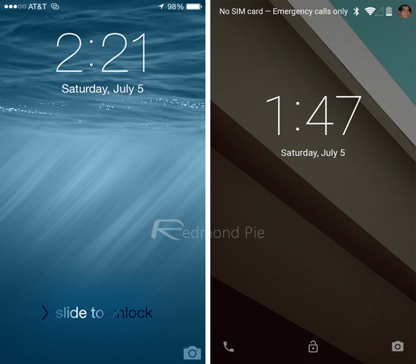 lock screen1 - iOS 8 và Android L: So sánh giao diện và tính năng qua hình ảnh