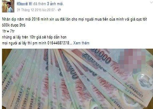 Một tài khoản Facebook rao bán tiền giả